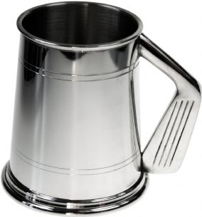 1pt Double Lines Golf Handle Pewter Tankard